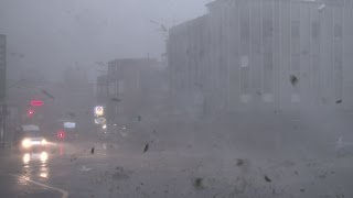 Download Violent Eyewall Wind, Flying Debris, Flood Water Release - 4K Stock Footage Screener Typhoon Dujuan Video