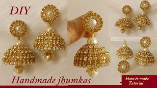 Download DIY || how to make silk thread bridal jhumka earrings at home || DIY bridal jhumka earrings tutorial Video