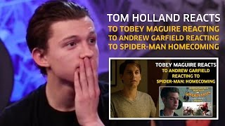 Download Tom Holland reacts to Tobey Maguire reacting to Andrew Garfield reacting to Homecoming (Parody) Video