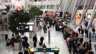 Download Chaos at Düsseldorf Airport. Very long queues due to a Strike. (HD, Time-Lapse) Video