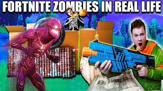 Download FORTNITE BOX FORT BATTLE IRL!! 📦⛏ Fortnite Zombies Base Defence (Nerf) Video