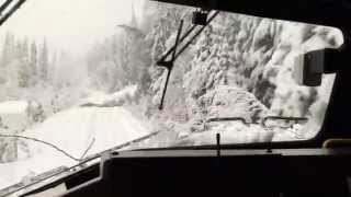 Download Train plows through trees after snow storm! Video