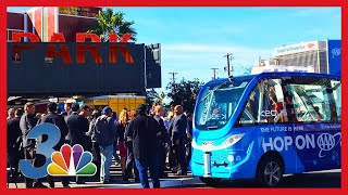 Download World's first self-driving shuttle crashes on first day of use Video