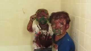 Download Dad can't stop laughing while trying to punish sons covered in paint (UNEDITED) Video