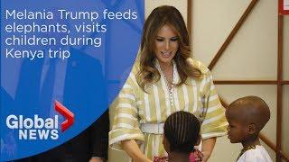 Download Melania Trump feeds elephants, visits children during Kenya trip Video