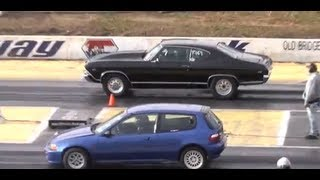 Download AMERICAN MUSCLE CARS vs. IMPORT CARS RACING THE 1/4 MILE Video
