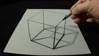 Download 3D Drawing a Simple Cube - No Time Lapse - How to Draw 3D Cube Video