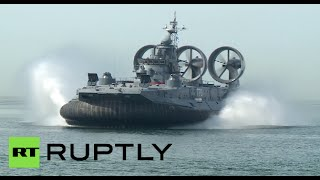 Download Race of Heroes: World's largest hovercraft opens military sports event in Russia Video