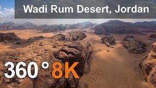 Download 360 video, Wadi Rum Desert, The Valley of the Moon, Jordan. 8K aerial video Video