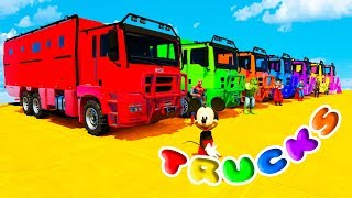 Download FUN LEARN COLORS HEAVY TRUCKS w/ SUPERHEROES Cartoon 3D Animation for Kids Video