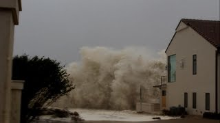 Download Hurricane Sandy Waves Hitting Beachfront House Video