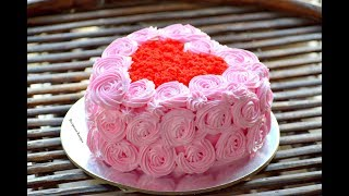 Download कढ़ाई में बनाये ये आसान और लाज़वाब Heart Shaped Cake - Red Velvet Cake - Icing - Cake Decoration Video