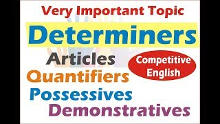Download Determiners in English Grammar: Quantifiers, Articles, Demonstratives & Possessives in Hindi Video