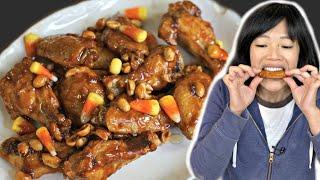 Download 👻 CANDY CORN & Peanut Glazed CHICKEN WINGS Recipe 🎃 Video