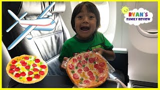 Download Gummy Pizza Candy Challenge Kid on the Airplane + Toy Hunt Swimming Pool with Ryan's Family Review Video