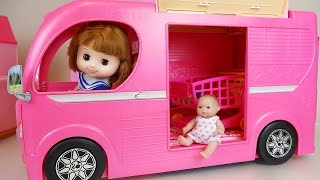 Download Pink Camping BUS and Baby doll toys picnic play Video