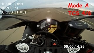 Download Yamaha R1 2012 acceleration, TCS | MODE tests 0-100, 0-200, 0-250 Video