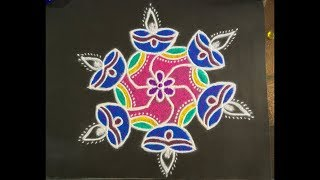 Download Simple Deepa Rangoli Design with Beautiful Colours and Dots 7x4 For Beginners   Easy Daily Kolam Video