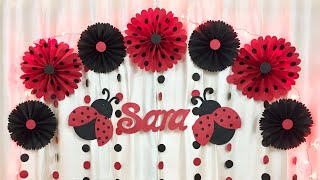 Download Ladybug Theme Birthday Party Decoration | Very EASY Birthday Party Decoration ideas at home Video