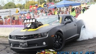 Download KILLA-B BLOWN V8 CAMARO BURNOUT AT LARDNER PARK MOTORFEST 2013 Video