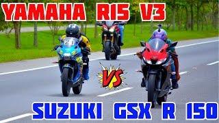 Download YAMAHA R15 V3 Vs SUZUKI GSX R 150   EPIC DRAG RACE   PIKE ÉPICO EN IBAGUÉ  🏍️🏍️🔥🔥🔥 Video
