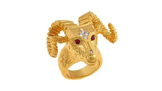Download Asa Jewelry CrystalAccented Goldtone Ram's Head Ring Video