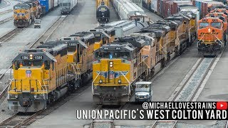 Download 4K - Union Pacific Freight Train Operations at the West Colton Yard Video