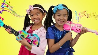 Download Jannie & Emma Pretend Play w/ Guitar Music Toys & Sing Kids Songs Nursery Rhymes Video