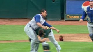 Download A's, Rangers empty benches after Nick Swisher is hit by a pitch Video