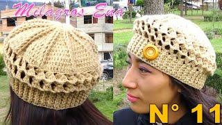Download Boina a Crochet en Punto Panal de Abeja o nido de Abeja paso a paso en diferentes tallas Video