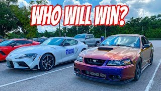 Download Tuned 2020 Toyota Supra vs Turbo Bullitt Mustang + C7 Z06 Video