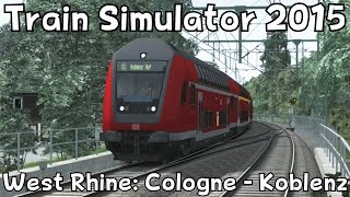 Download Train Simulator 2015: West Rhine: Cologne - Koblenz with DB BR146.2 / Double Decker Stock Video