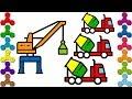 Download Tô màu xe trộn bê tông, Cần cẩu, máy xúc| Bé tập tô xe công trường | Vẽ tranh thiếu nhi Video
