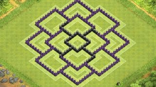Download Clash of Clans Town Hall 8 Defense (CoC TH8) BEST Trophy Base Layout Defense Strategy Video