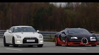 Download [4k] RACE Nissan GTR Alpha 12 vs Bugatti Veyron Vitesse 1200 HP Highspeed Oval SHORT VERSION (7 min) Video