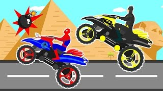 Download Motorbike Race Videos For Children Cartoon Heroes Spider & Bat I Learn Colors For Kids Songs Video