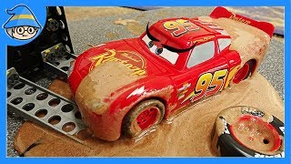 Download Disney Lightning McQueen car fell into a mud swamp. Rescue the McQueen car. Video