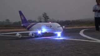 Download RC Chiangrai Thailand A380 with light sign at Rimchorn flying club(Meeting 2014) Video