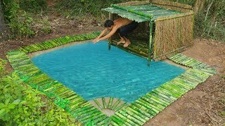 Download Unbelievable! Build Underground Swimming Pool and Bamboo Pool Around Underground House Video