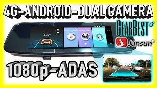 Download NEW 4G Android Dual Camera ADAS 1080p Mirror Car DVR for 2018 - Junsun A880 Video