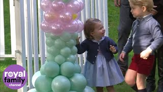 Download Prince George and Princess Charlotte play with balloons and pet animals Video