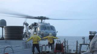 Download US Navy Helicopter landing on ship Video