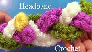 Download Diadema tejida de tres trenzas en punto puff de colores con gancho Crochet Video