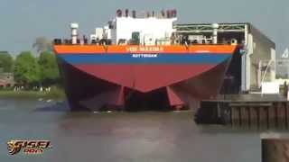 Download Awesome big ship launches Video