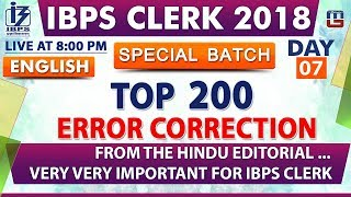 Download Top 200 | Error Correction | Day 07 | IBPS Clerk 2018 | English | Live at 8:00 pm Video