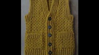Download Жилет с карманами Часть 1 Спинка. Vest knitting part 1 Video