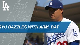 Download Ryu dominates on mound, does damage with the bat Video