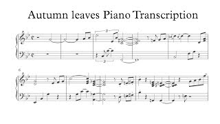 Download Autumn Leaves - Yohan Kim (Piano transcription) Video