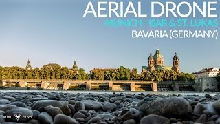 Download Drone over Munich: River Isar and Church St. Lukas - Aerial Footage (Vitali Films) Video