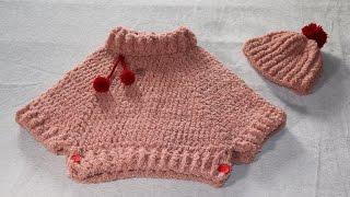 Download Conjunto poncho y gorro con pompón a crochet. Video